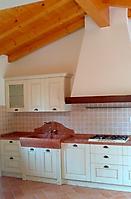 cucina con lavabo blocco unico rosso asiago