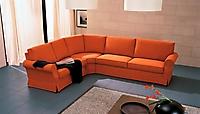 divano ad angolo tessuto arancio