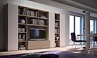 parete soggiorno rovere e bianco
